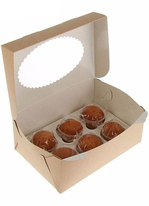 Коробка для капкейков с окном на 6шт