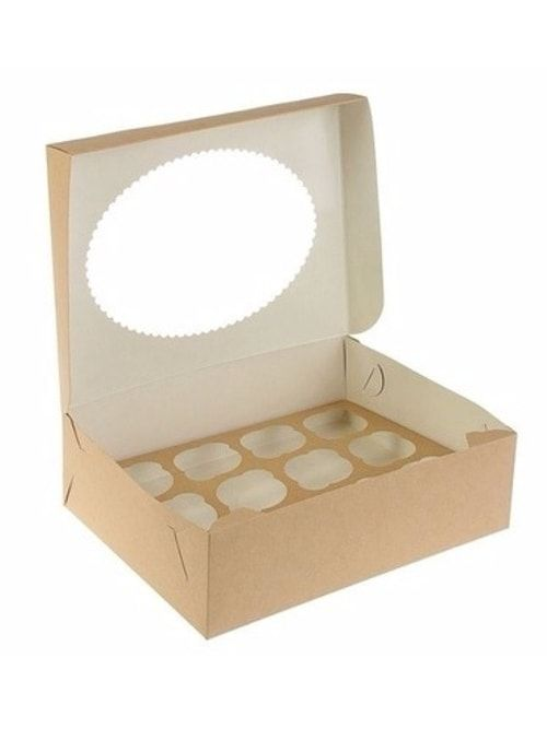 Коробка для капкейков с окном на 12шт