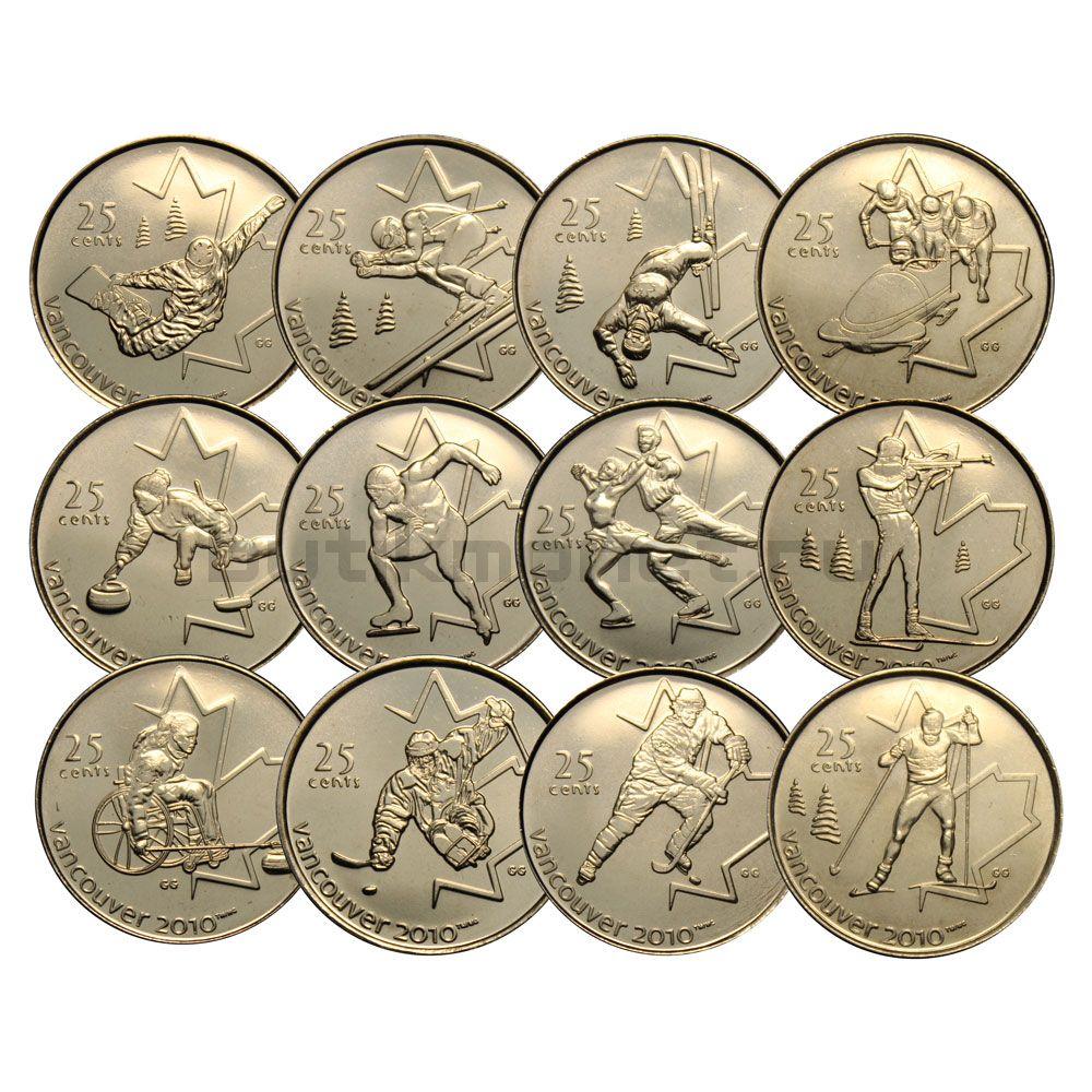 Набор 25 центов 2007-2009 Канада Олимпийские игры в Ванкувере (12 монет)