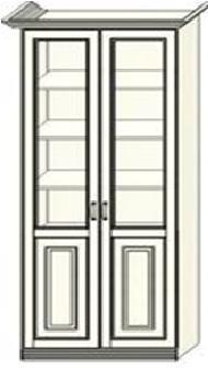 Шкаф-витрина двухдверный Ферсия, два отделения, полки ЛДСП (модуль 27)