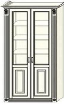 Шкаф-витрина двухдверный Ферсия с двумя пилястрами, два отделения, полки ЛДСП (модуль 28)