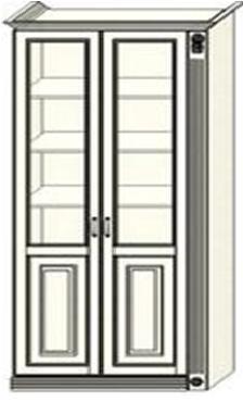 Шкаф-витрина двухдверный Ферсия с одной пилястрой справа, два отделения, верхние полки стекло (модуль 29)