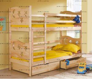 Кровать двухъярусная Звездочка массив №Д