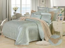 Комплект постельного белья Сатин-жаккард вышивка Donna Constance  (фисташковый)  евро Арт.761/3