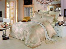 Комплект постельного белья Сатин-жаккард  Donna Felice  (олива-золото) семейный Арт.588/4