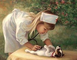 Картина по номерам Девочка с щенком W1760