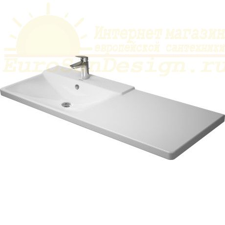 Асимметричная раковина Duravit P3 Comforts над стиральной машиной 233312 125х49,5 см ФОТО
