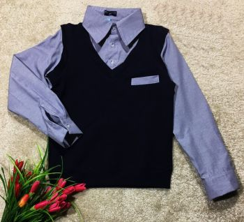 Кофта -рубашка обманка(синяя) 6-14 №СТ6-8