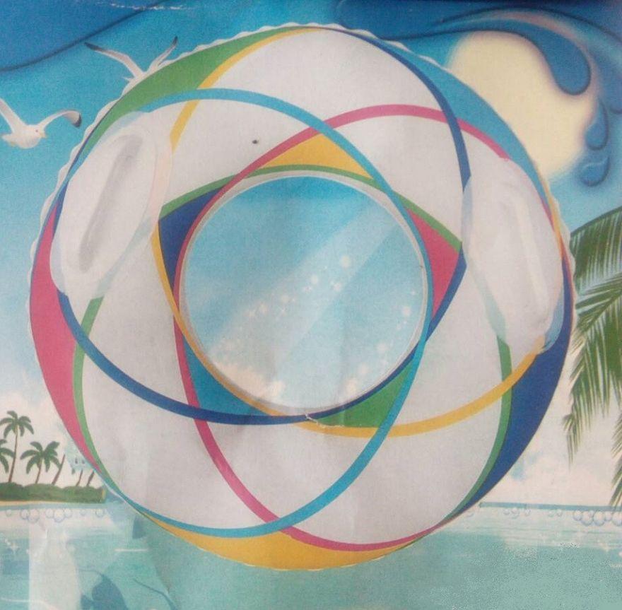 Белый надувной круг с ручками (70 см)