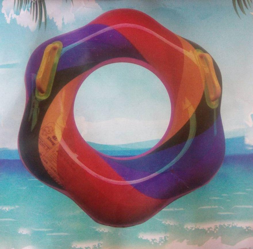 Радужный надувной круг с ручками (диаметр: 60 см)