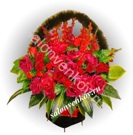 Ритуальная корзина из искусственных цветов N11, РАЗМЕР 60см, 80см,90 см