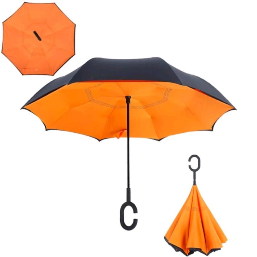 Купить Зонт наоборот Оранжевый недорого с доставкой