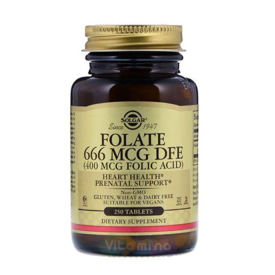 Солгар Folate Фолиевая кислота 400 мкг, 250 табл.
