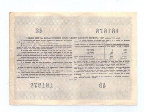 100 рублей 1955 г. СССР облигация