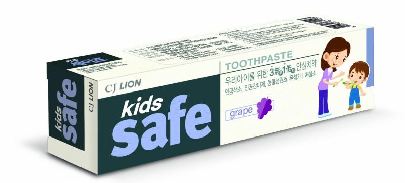 """CJ Lion Детская зубная паста """"Kids Safe"""" со вкусом винограда, от 3-х до 12 лет, 90 гр.."""