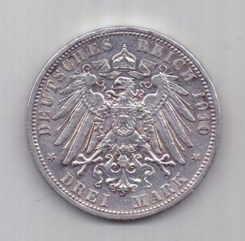 3 марки  1910 г. AUNC Пруссия. Германия