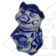 Сувенир Гжель Символ Года 2019 ОПТОМ - Хрюшка 10x5,5x5 см