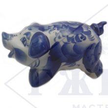Сувенир Гжель Символ Года 2019 ОПТОМ - Веселая Свинка 10x16,5x8,5 см