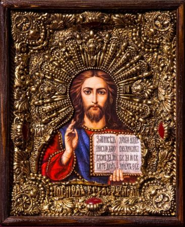 """Икона Иисуса Христа """"Господь Вседержитель"""" 19 х 23 см. в киоте, роспись по дереву, самоцветы"""