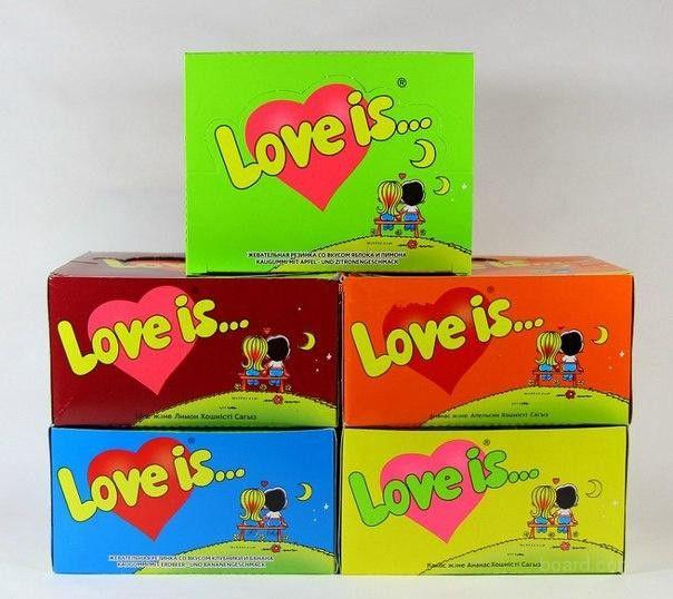 Жвачки Love Is 100 штук (Вкус: Клубника+банан)