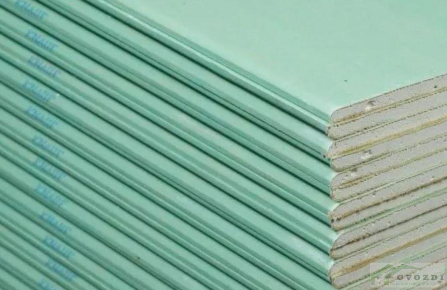 Гипсокартон ВЛАГОСТОЙКИЙ, лист 3,0 м х 1,2 м, толщина 12,5мм,  Кнауф