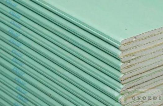 Гипсокартон ВЛАГОСТОЙКИЙ, лист 2,5 м х 1,2 м, толщина 12,5мм,  Кнауф