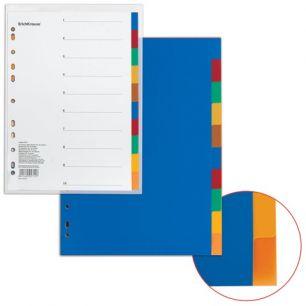 """Разделитель пластиковый ERICH KRAUSE """"Divider colored"""" для папок А4, по цветам, 10 цветов, с оглавлением, 2715"""
