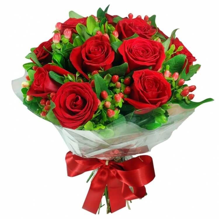Букет из темно-красных роз «Ledy in red»