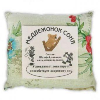 Травяная подушка для сна детям Медвежонок соня 20 см х 20 см