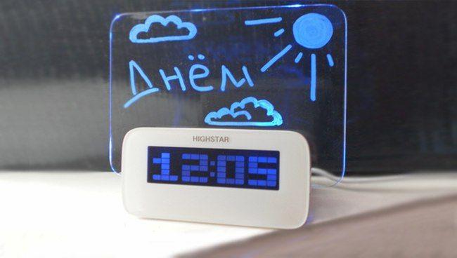 Часы электронные Highstar HSD1140A Led c панелью для рисования (Цвет: Голубой)
