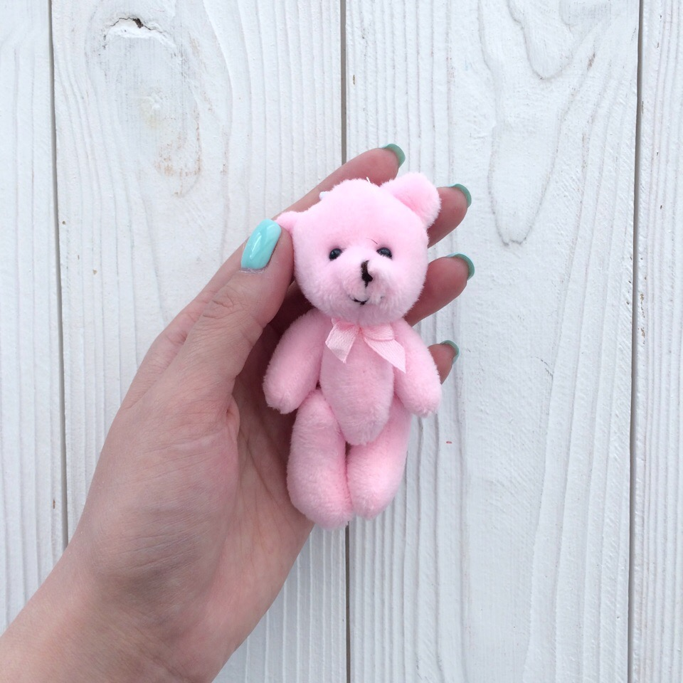 Мишка для куклы, розовый, 8 см