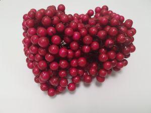 `Ягоды 10 мм (длина 16см), цвет - темно-розовый. 1 веточка=2 ягодки