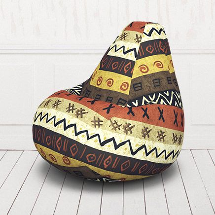 Кресло мешок груша бескаркасное. Жаккард. Африка