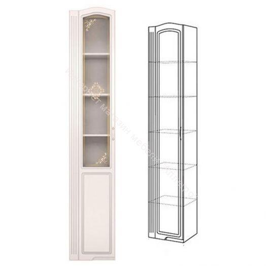 Шкаф-пенал со стеклом (левый) Виктория Белый глянец