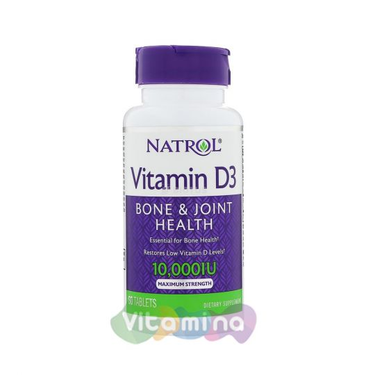 Natrol Витамин Д3 10.000 МЕ, Vitamin D3, 60 табл.