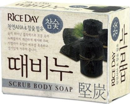 CJ Lion Скраб-мыло туалетное Rice Day, древесный уголь, 100 гр
