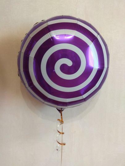 Фиолетовый круг-леденец спиралька шар фольгированный с гелием