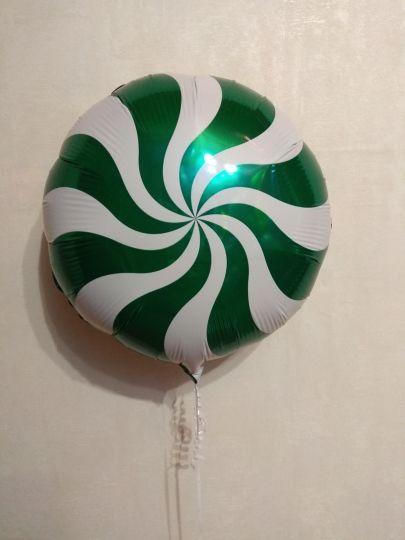 Леденец зеленый шар фольгированный с гелием