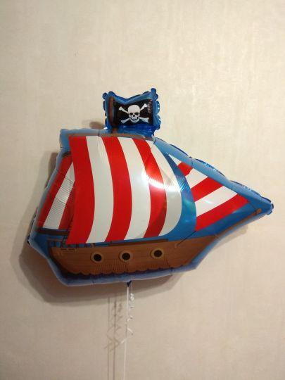 Корабль фрегат фольгированный шар с гелием