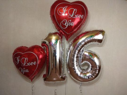 Набор фольгированных шаров с цифрами с гелием