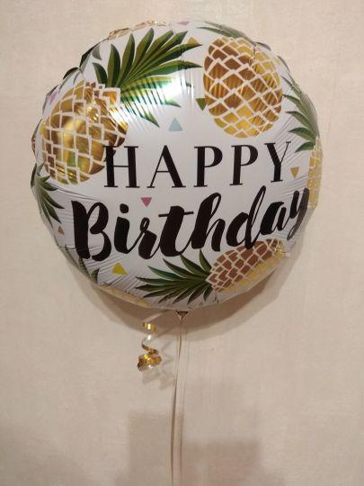 С днем рождения Тропические Ананасы шар фольшированный с гелием