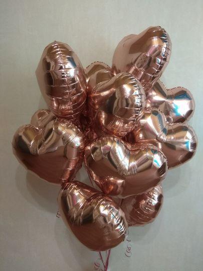 Сердце розовое золото шар фольгированный с гелием