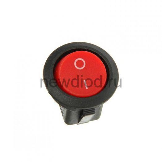 Выключатель клавишный круглый 250V 6А (3с) ON-OFF красный  с подсветкой  REXANT