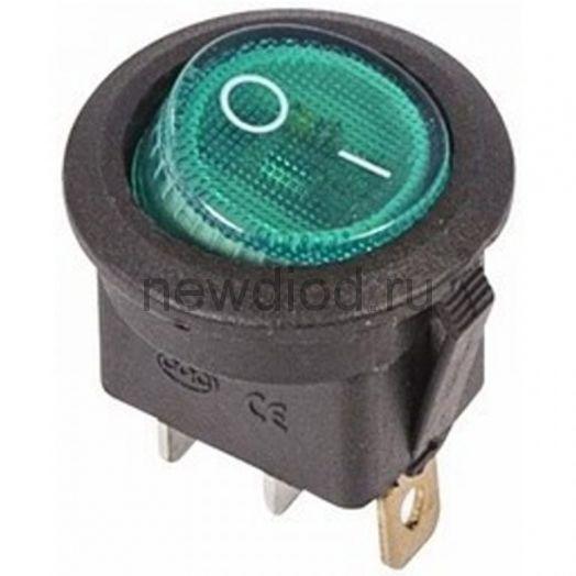 Выключатель клавишный круглый 250V 6А (3с) ON-OFF зеленый  с подсветкой  REXANT