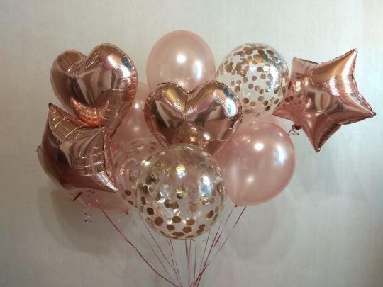 Набор с конфетти Розовое золото