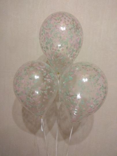 МИНИ шар маленького размера с бумажным конфетти любой цветовой гаммы