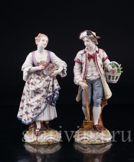 Изображение Садовники, пара с цветами, Dressel, Kister & Cie, Passau, Германия, 1903-04 гг