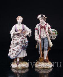 Садовники, пара с цветами, Dressel, Kister & Cie, Passau, Германия, 1903-04 гг