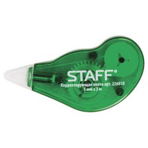 Корректирующая лента STAFF, 5 мм х 3 м, корпус зеленый, с подкручиванием, блистер