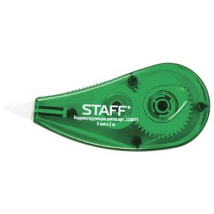 Корректирующая лента STAFF, 5 мм х 5 м, корпус зеленый, с подкручиванием, блистер
